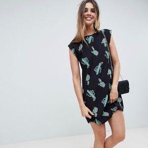 ASOS DESIGN Cactus Print Mini Swing Dress Size 4